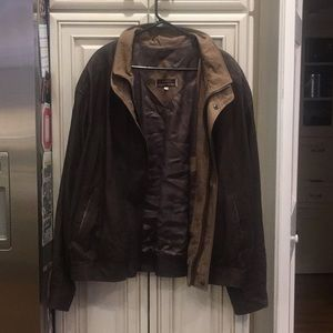 Johnson Murphy Soft Brown Leather Bomber Jacket 48